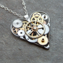 Mechanical Heart Necklace &quot;Aware&quot; Elegant Industrial Heart Steampunk Necklace Clockwork Love Sculpture by A Mechanical Mind