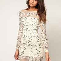 ASOS | ASOS Jewelled Applique Lace & Mesh Dress at ASOS