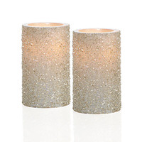 Z Gallerie - LED Glittered Pillar Candles