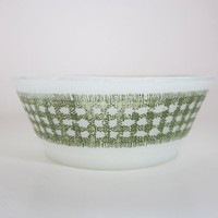 "Fire King by Anchor Hocking Bowl Gingham green, 5"" diameter dish, Vintage kitchen candy dish"
