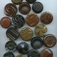 Vintage 20 large carved bakelite coat buttons
