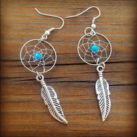 Dream Catcher Earrings - Turquoise