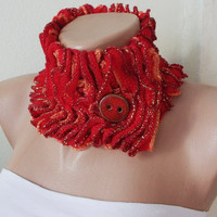 Red, orange with gold shimmering Ruffle Scarf