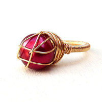 Red Pearl Ring:  Gold Wire Wrapped Christmas Jewelry, Dark Berry Red Modern Ring, Size 7