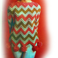 1960 Retro Crochet Ripple Pullover with Pompoms Pattern | Los Angeles Needlework