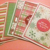 Christmas Cards, Set of Six, Green Pink and Red