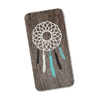 Dreamcatcher Wood iPhone Skin 4S: Cover Sticker for iPhone 4 - Southwest Feather Tribal in Turquoise Brown and White Boho Dream Catcher