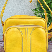 Vinyl Overnight Bag In Sunflower Yellow Great by MoonOverMarilyn