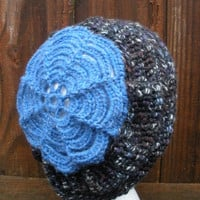 Slouch Hat in dark charcoal gray with multicolor flecks and blue floral finish, ready to ship.