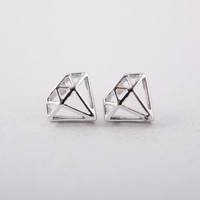 Diamond shaped Stud Earrings in Silver