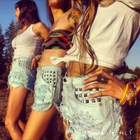 High Waisted Studded Shorts in Mint