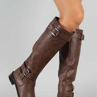 Soda Doric-S Buckle Riding Knee High Boot