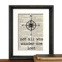 Not All Who Wander Are Lost Tolkien Compass Print - Beautifully Matted Book Page Print - Gift Present Home Office Decor