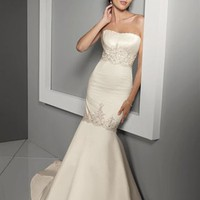 Beautiful Mermaid Sweetheart Court Train Sleeveless Satin Wedding Dress-$436.99-ReliableTrustStore.com