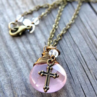 Pink Rose Quartz Bronze Wire Wrap Pendant handmade Necklace with Cross and crystal bead charm Christian Religious Jewelry