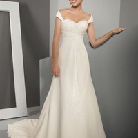 Classic A-line Straps Court Train Sleeveless Chiffon Wedding Dress-$376.99-ReliableTrustStore.com