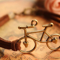 bike bracelet,retro bronze love bike alloy bracelet,brown wax rope chain bracelet