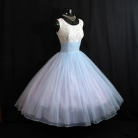 Vintage 1950's 50s Baby Blue Beaded Studs Lace Ruched Chiffon Circle Skirt Party Prom Wedding Dress Gown M/L Size