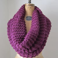 Super Snuggly chunky knit cowl Purple Mulberry Plum by Happiknits
