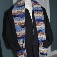 Pocketed Scarf - Blue Multi