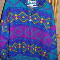 Vintage 80s 90s Tribal Southwest Pullover Polar Fleece Half Zip Jacket by Active Sensation Awesome Colors Large