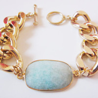Mint Amazonite & Chunky Gold Chain Bracelet