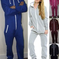 ADULT MENS WOMENS HOODED ALL IN ONE PIECE Onesuit JUMPSUIT TRACKSUIT SIZE S-XL