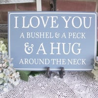 I Love You Wood Sign Painted Nursery or Wedding Plaque Blue