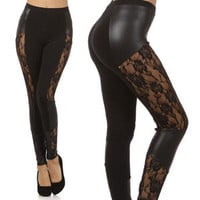 New Lace Panel High Waist Faux Leather Wet Look Liquid Leggins Fashion Pants