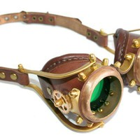 STEAMPUNK GOGGLES made from solid brass brown leather by ErihMann