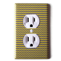 Yellow & Gray Mini Chevron Outlet Plate