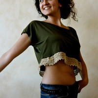 Women&#x27;s Crop top - Green and Golden cotton lace tunic t shirt