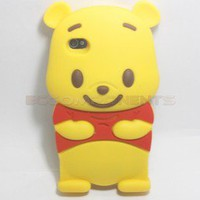 Hot! Newest Winnie the Pooh 3D Cute Silicone Soft Case Cover For iPhone 4 4G 4S