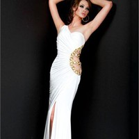 One-shoulder Column crossing back white Long with Sequins Prom Dress PD1005