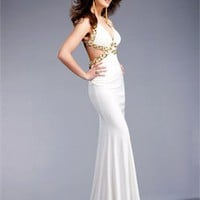 v-neck Column crossing back white Long with Sequins Prom Dress PD1006