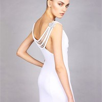 v-neck Column white Long with Sequins Prom Dress PD1013