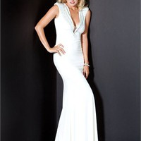v-neck with a cat Column white Long with beads Prom Dress PD1047