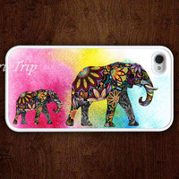 iPhone 4 Case, iphone 4s case --Mama Elephant and Baby Elephant iphone case,colorful elephant iphone 4 case, iphone case
