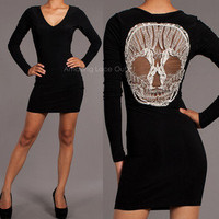 Happy Face Skull Dress Long Sleeve Black Knit V-Neck Short Mini Trendy Fashion