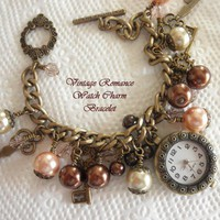 """Vintage Romance"" Pink and Brown Watch Charm Toggle Bracelet"