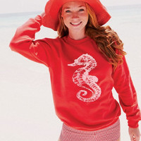 Size Large Red Sweatshirt White Sea Horse Nautical beach coast coastal retro pin up Ladies Teen Girl sweat Shirt
