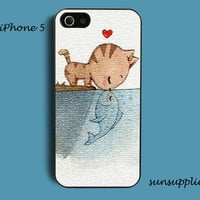 personalized cat heart fish  iPhone 5 case iPhone 5 cover iPhone cases hard plastic
