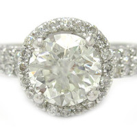 Round cut diamond engagement ring halo 14k white gold 1.70ctw