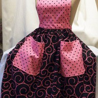 FREE SHIPPING Pink and Black Retro Handmade Apron