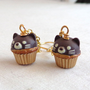 Kawaii Kitty Cat Chocolate Cupcake Earrings