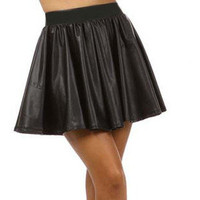 Skater Skirt Womens Fashion High Waist Mini Skirt Dress Matt Black Vegan Leather