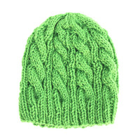 SMALL Clover Green Wool Hat - Cable Beanie - Washable Wool Yarn