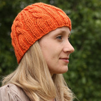 Pumpkin Orange Cable Beanie - Knit Hat - Acrylic Yarn