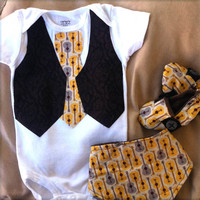 Baby Boy Tie Onesuit or shirt with vest Baby by fourtinycousins
