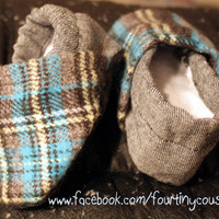 Baby Shoes Denim and Plaid rockin&#x27; crib shoes by fourtinycousins